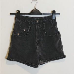 Vtg Steel Jean Black High Waisted Jean Shorts 3H13